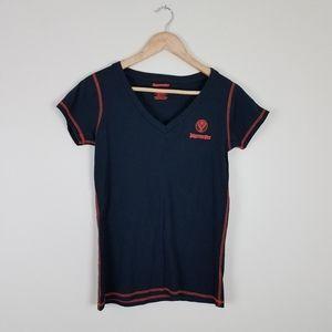 Jagermeister Cap Sleeve Blue/Orange V-neck Shirt
